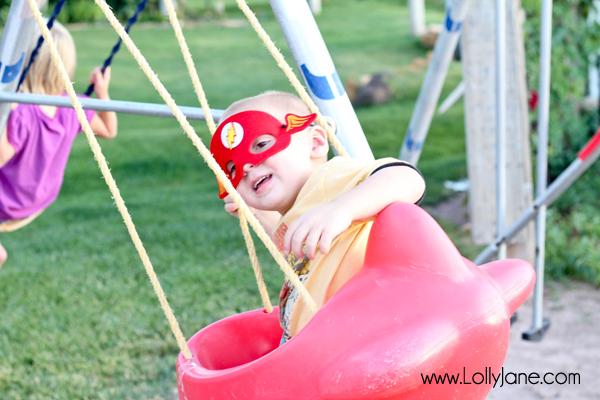 My little superhero enjoying his superhero party :)