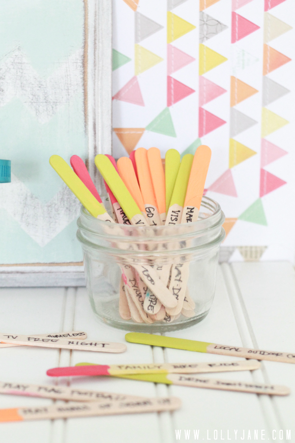Summer Boredom Buster Dipped Popsicle Stick Jar via LollyJane.com