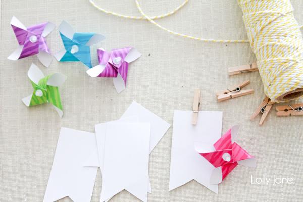 DIY pinwheel bunting