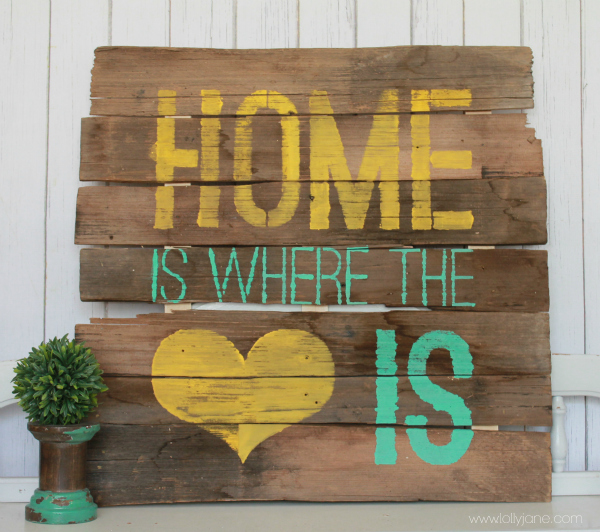 Home is Where the Heart is sign #diy #palletart