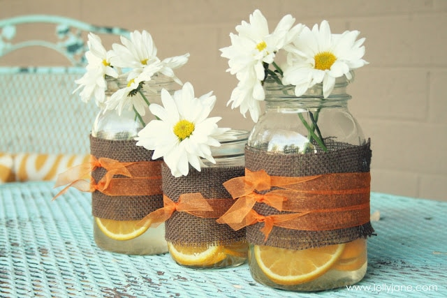 Burlap Wrapped Mason Jars Vases