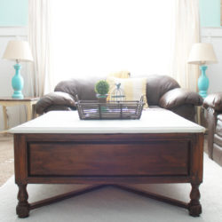 Two-tone coffee table with new rug