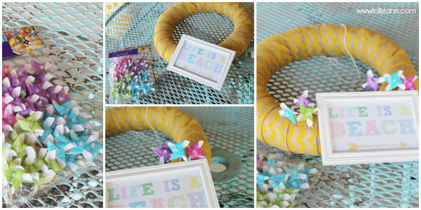 Stick pinwheels and a printable to a cute summer wreath!
