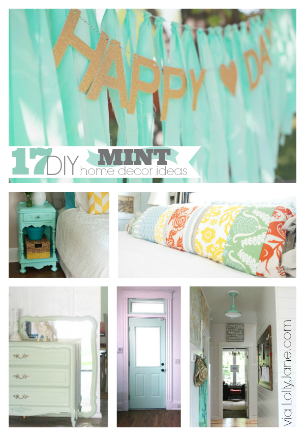 17 DIY mint home decor ideas via LollyJane.com