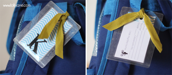 back-to-school DIY backpack tag