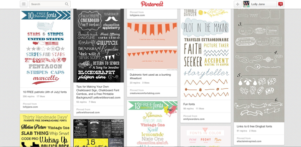 "Pinterest Board ""font love"" via LollyJane"