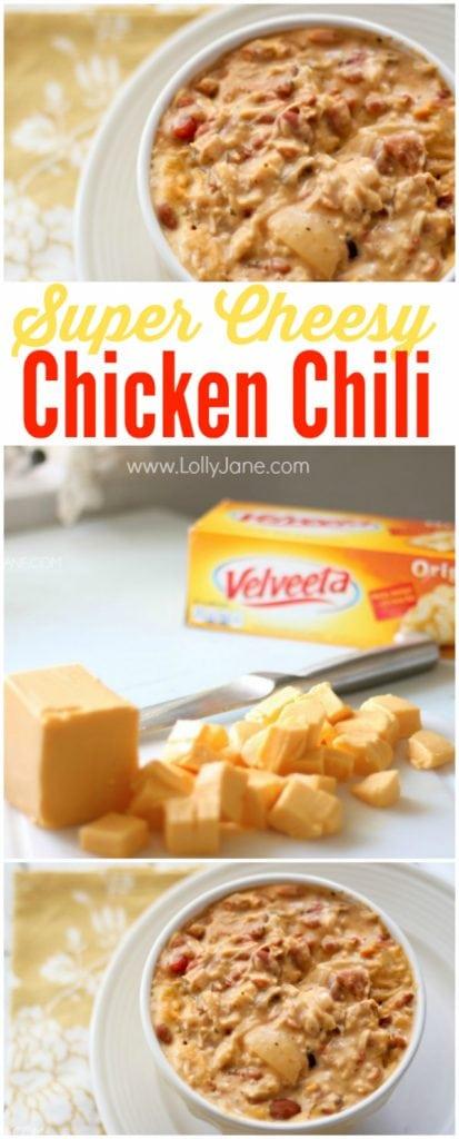 cCheesy Velveeta chicken chili, easy and full of flavor!   lollyjane.com