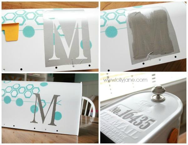 DIY monogram mailbox with vinyl used as a stencil.