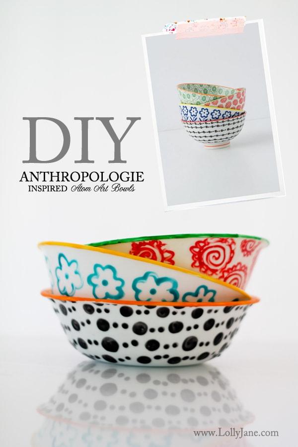 Anthropologie-inspired Atom art bowls
