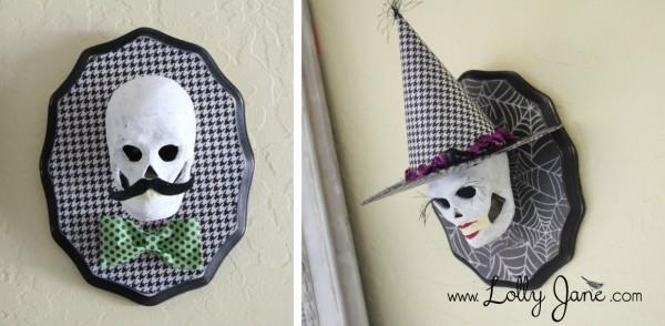 DIY Halloween skull plaques