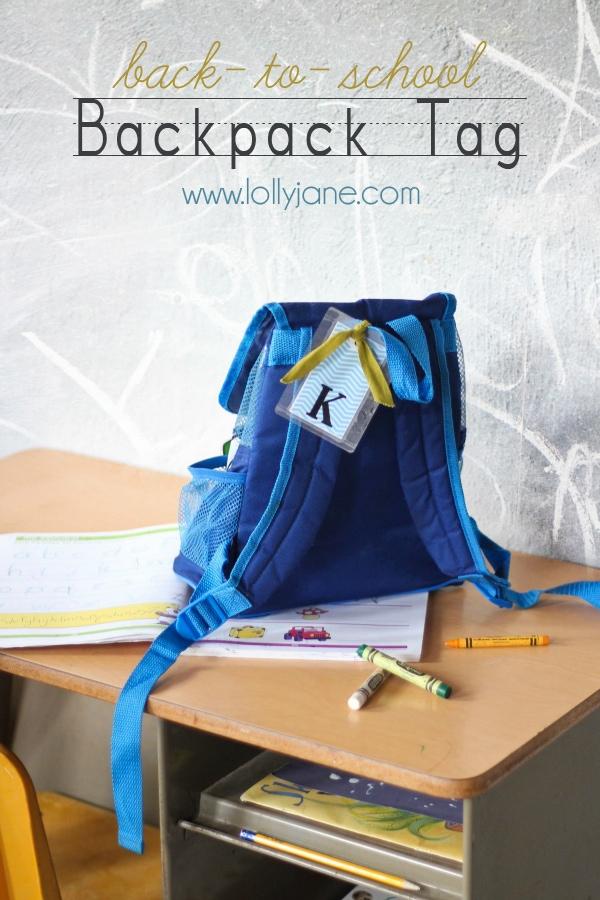 Back-to-school DIY backpack tag   free printable
