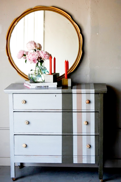 Lovely distressed striped dresser