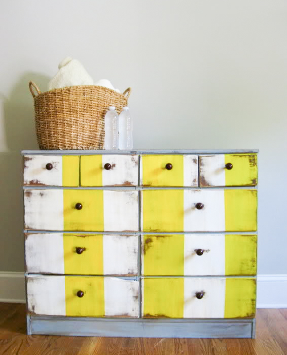 Yellow striped dresser