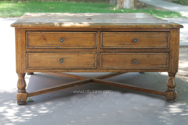 Turn this ugly coffee table into a two-tone beauty!