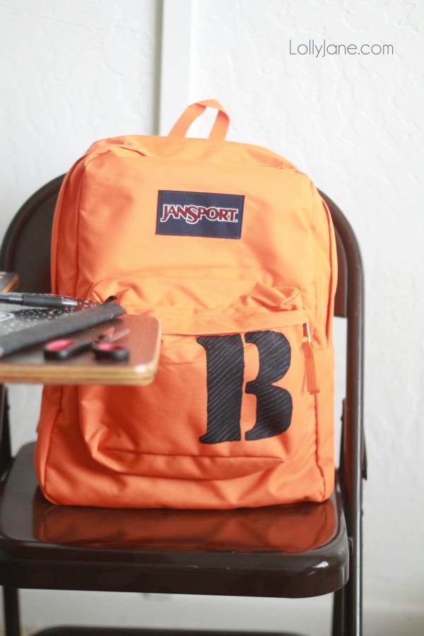 Super easy monogram stencil backpack, quick makeover!