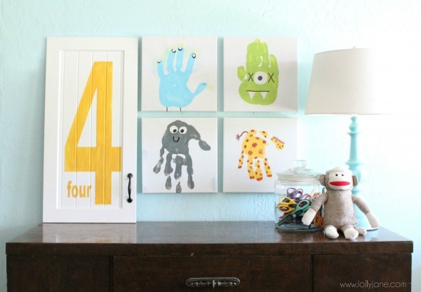 Cute way to display your kids handprint art!