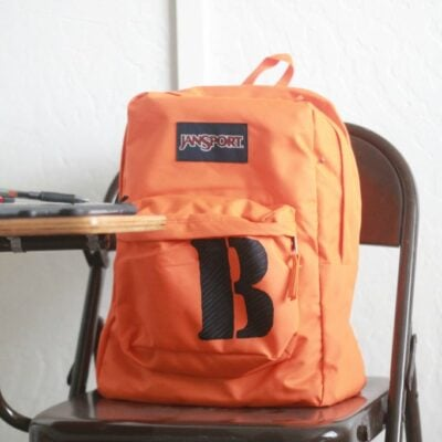 monogram stencil backpack makeover
