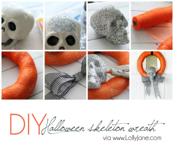 cute DIY Halloween skeleton wreath