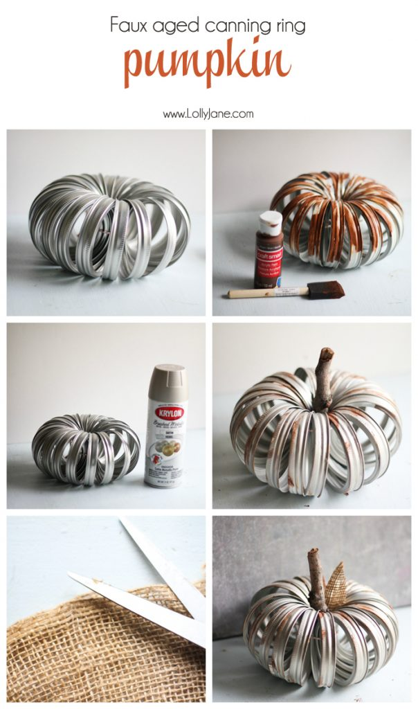 Loving this mason jar ring pumpkin craft! Such a pretty faux aged canning ring pumpkin!! Cute cheap and easy fall decor idea! Love easy fall decor crafts!