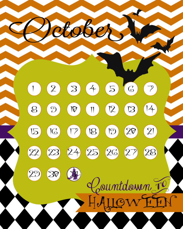 FREE Halloween Countdown Calendar Printables By Lolly Jane
