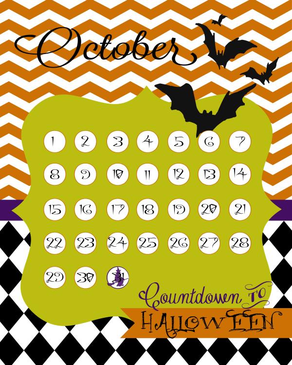 Cute FREE Halloween countdown calendar #halloween
