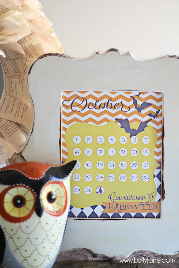 Cute free Halloween countdown calendar