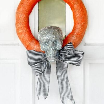 Halloween skeleton wreath tutorial