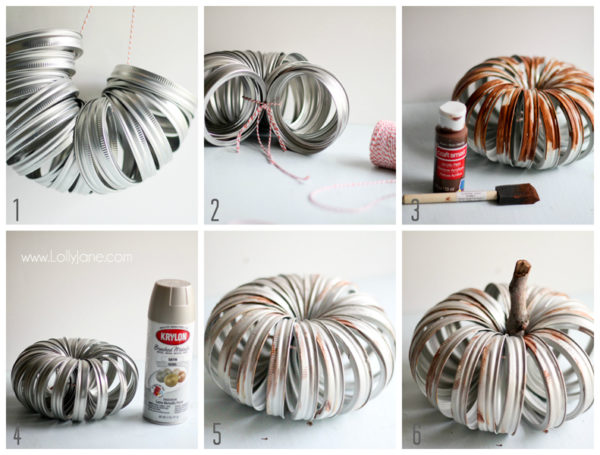 How to make a cute faux-aged canning ring pumpkin