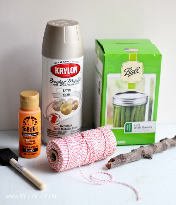 Supplies to make a cute faux-aged canning ring pumpkin. Love this pretty canning ring pumpkin craft!