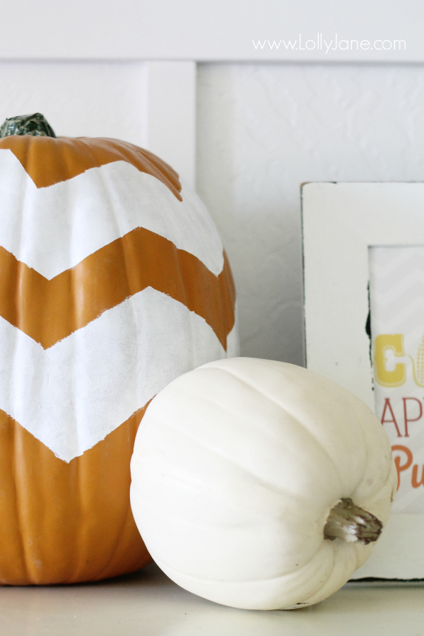 Easy chevron painted pumpkins directions.