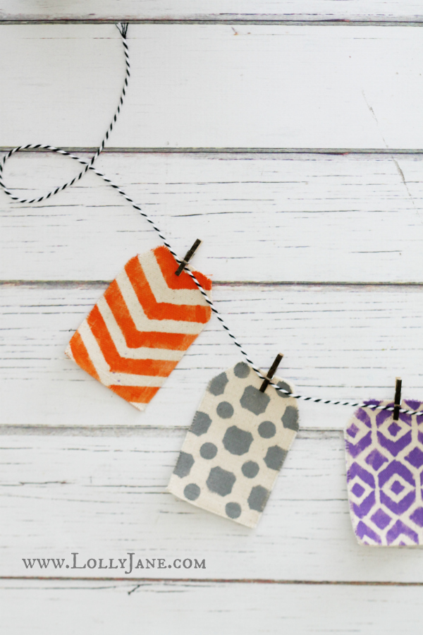 DIY stenciled Halloween bunting, so easy to make!