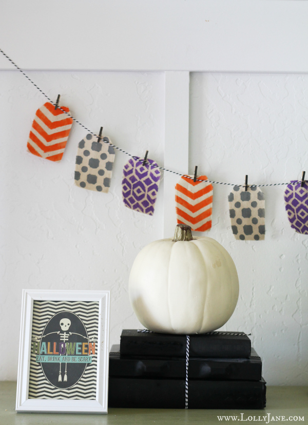 Super easy no sew, no glue stenciled Halloween bunting!