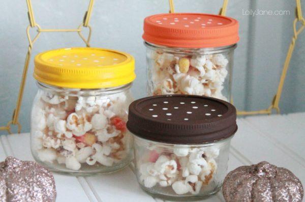 Easy candy corn popcorn mix!