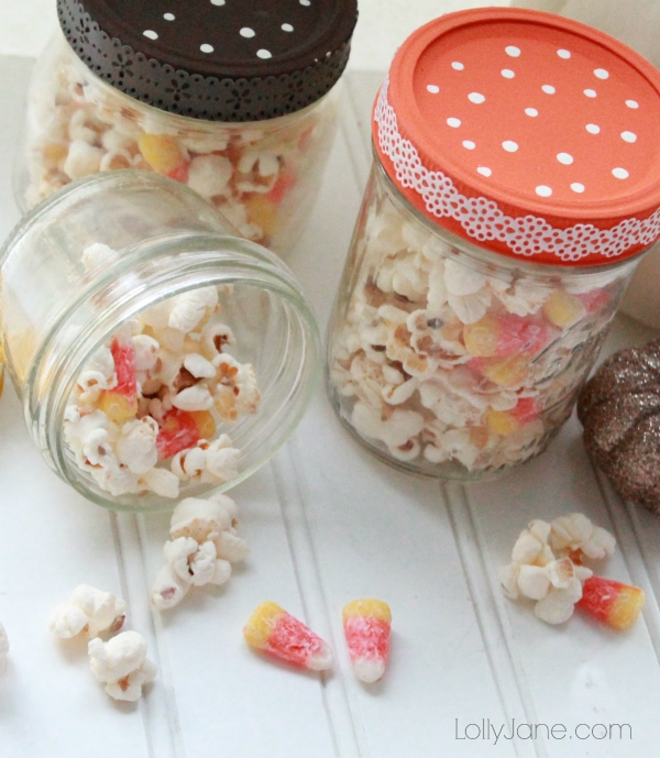 Easy candy corn popcorn mix!