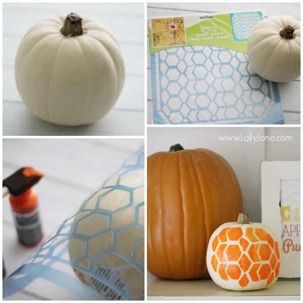 Honeycomb painted pumpkin tutorial.