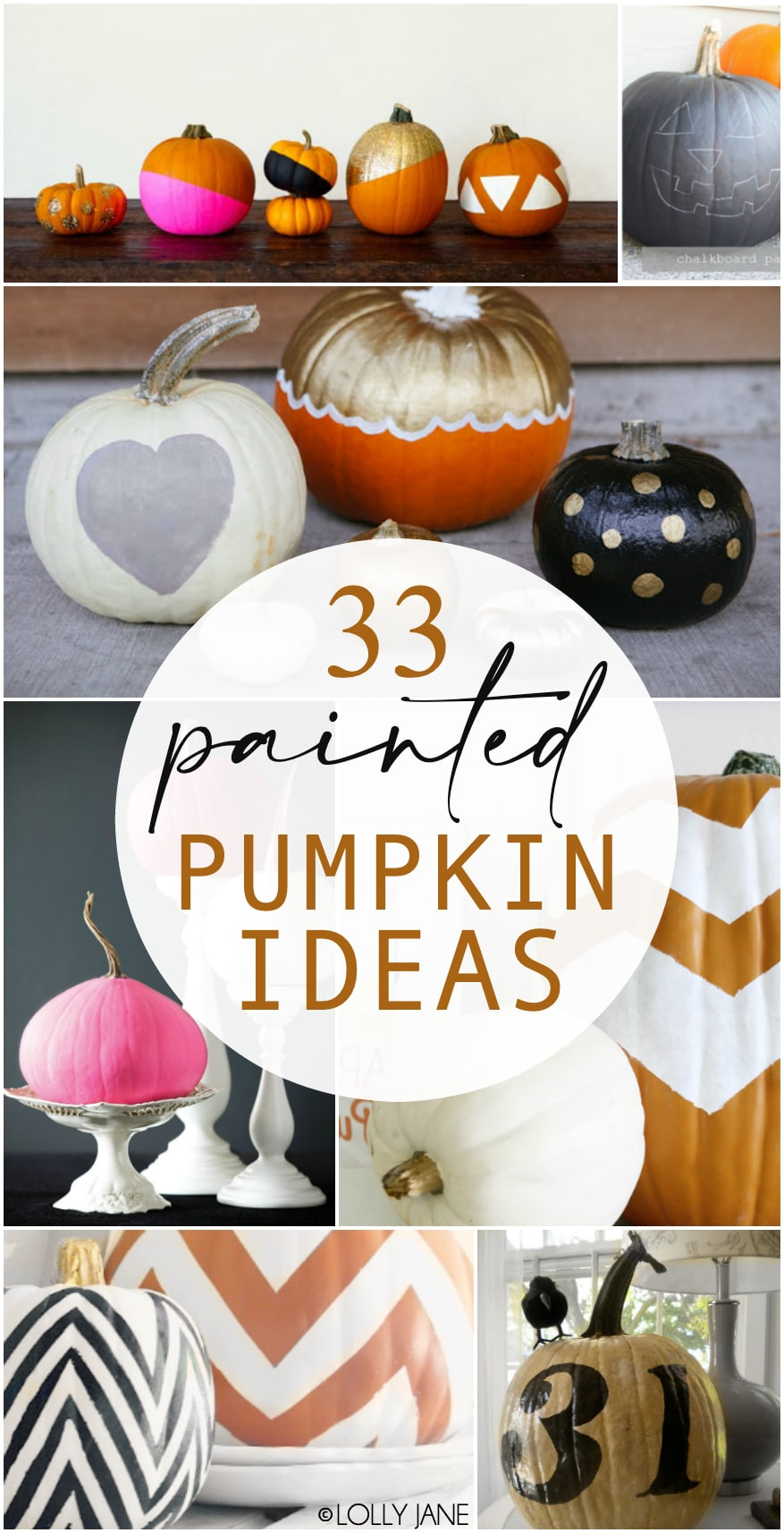 33 Painted Pumpkin Ideas... from shapes to dots and stripes to solids, check out the ultimate collection of painted pumpkins! #fall #pumpkins #diypumpkins #paintedpumpkins #pumpkindiy #falldiy #fallhomedecor
