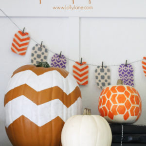 Easy honeycomb & chevron painted pumpkin tutorial!