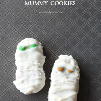 Chocolate dipped Halloween mummy cookies