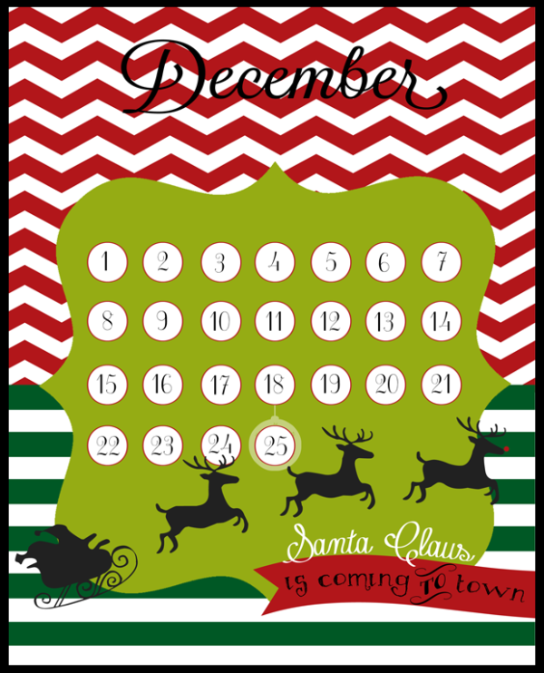 Countdown to Santa Claus calendar by LollyJane.com