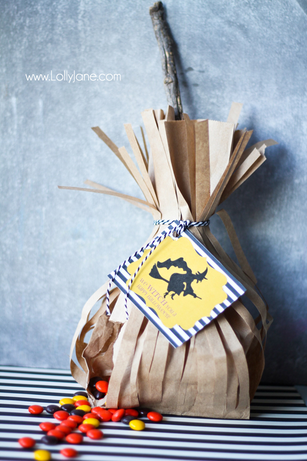 Cute witch broomstick Halloween party favor or neighbor gift
