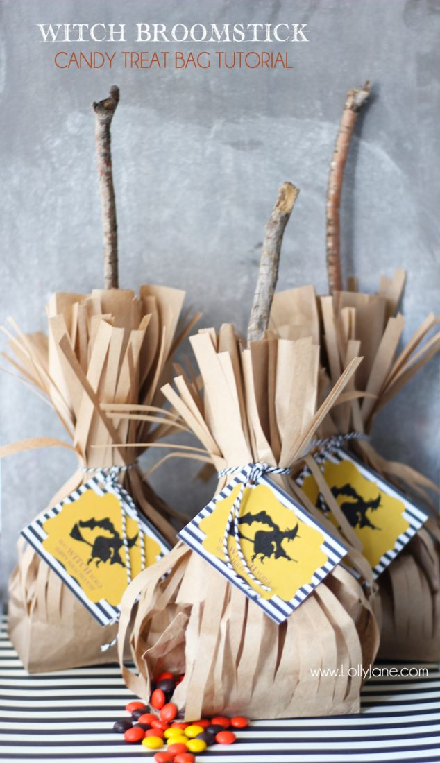 Witch Broomstick Candy Treat Bag Free Printable