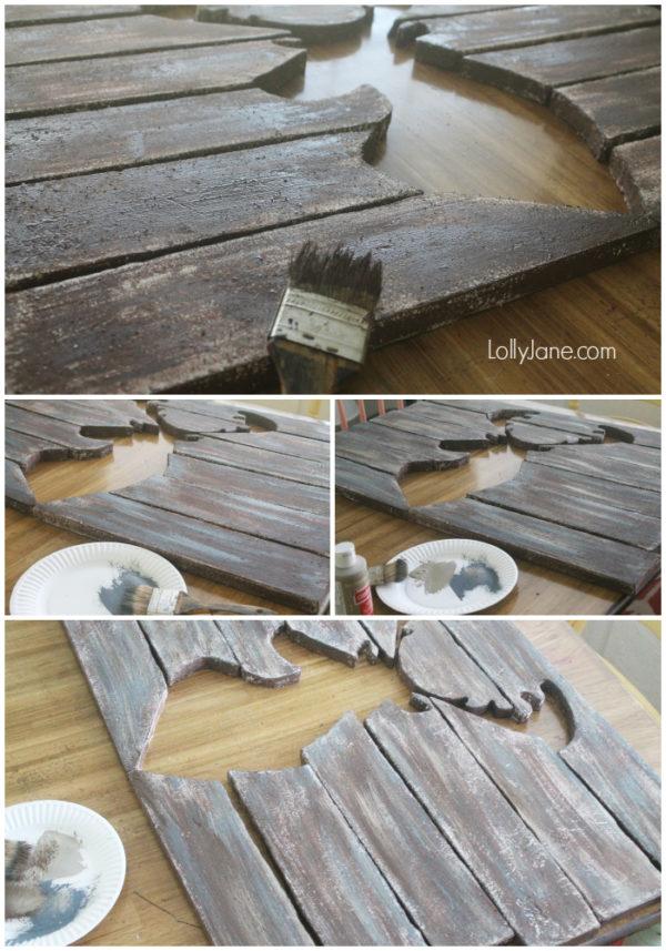 Faux barnwood painting tutorial! So easy! #barnwood #palletart #diy