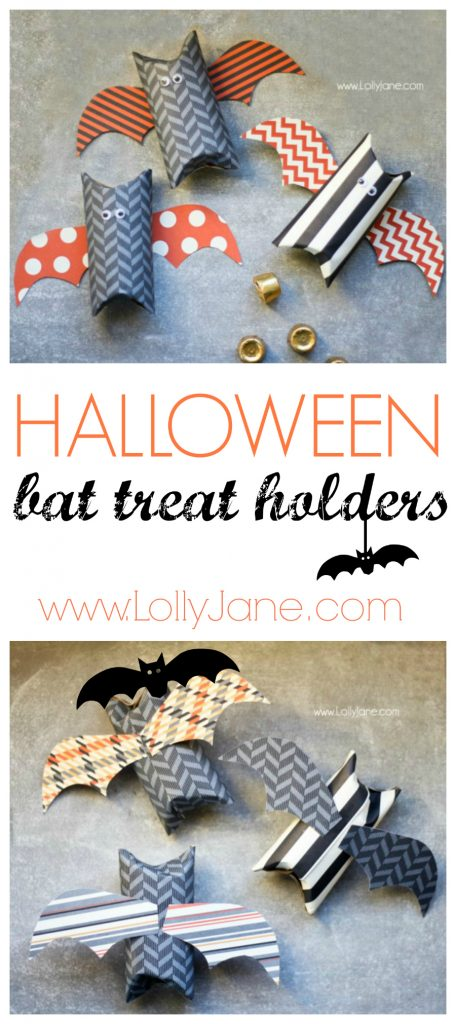 Cute Halloween bat treat holder made from toilet paper rolls #halloween