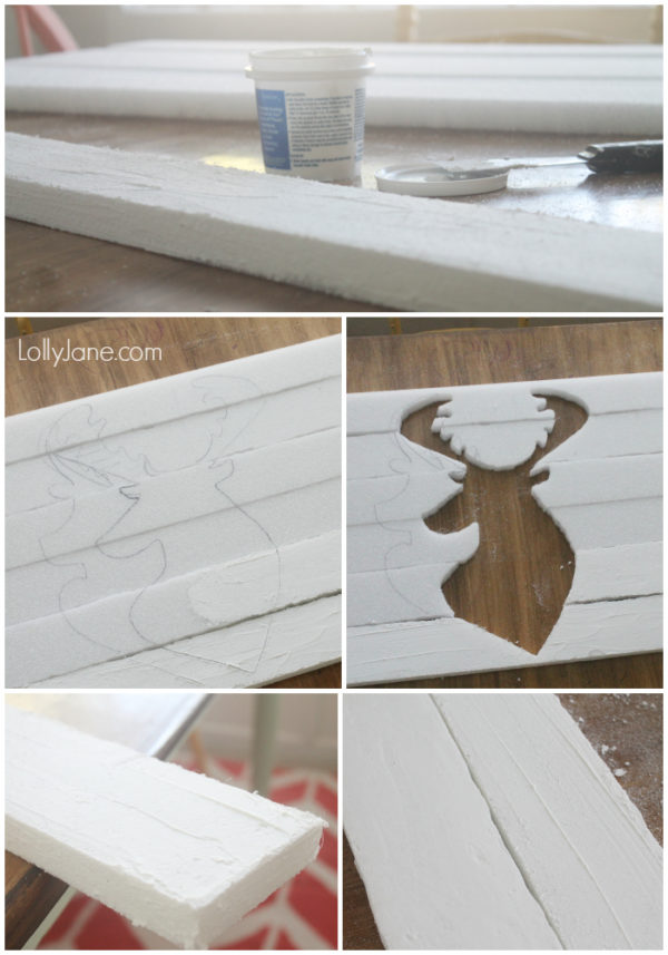 Trace a deer head onto foam slats, then paint for pallet art! #diy #fauxpalletart