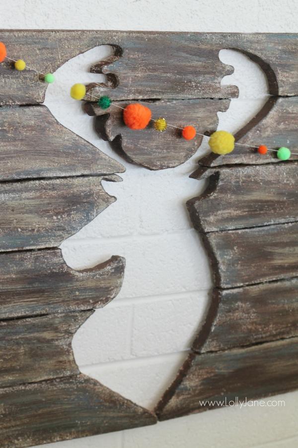 Faux deer head pallet art