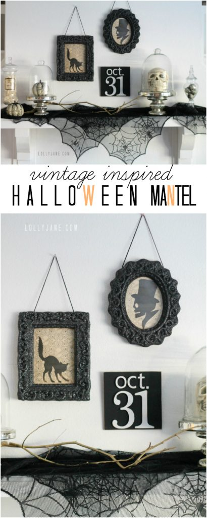 Vintage inspired Halloween mantel   lollyjane.com
