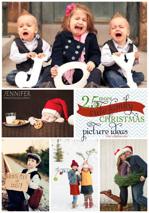 25 Cute Family Christmas Picture Ideas via www.lollyjane.com
