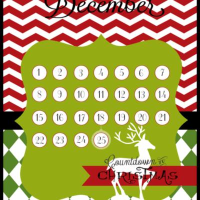 Christmas countdown |free printables