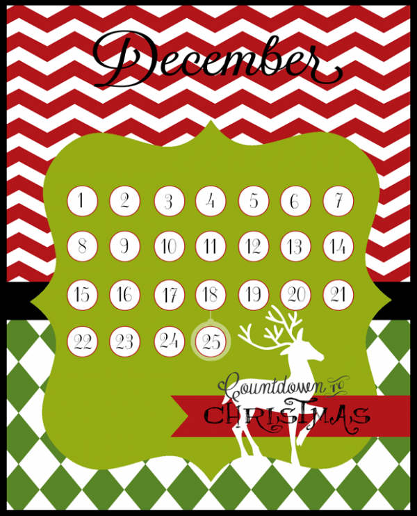 Christmas countdown |free printables