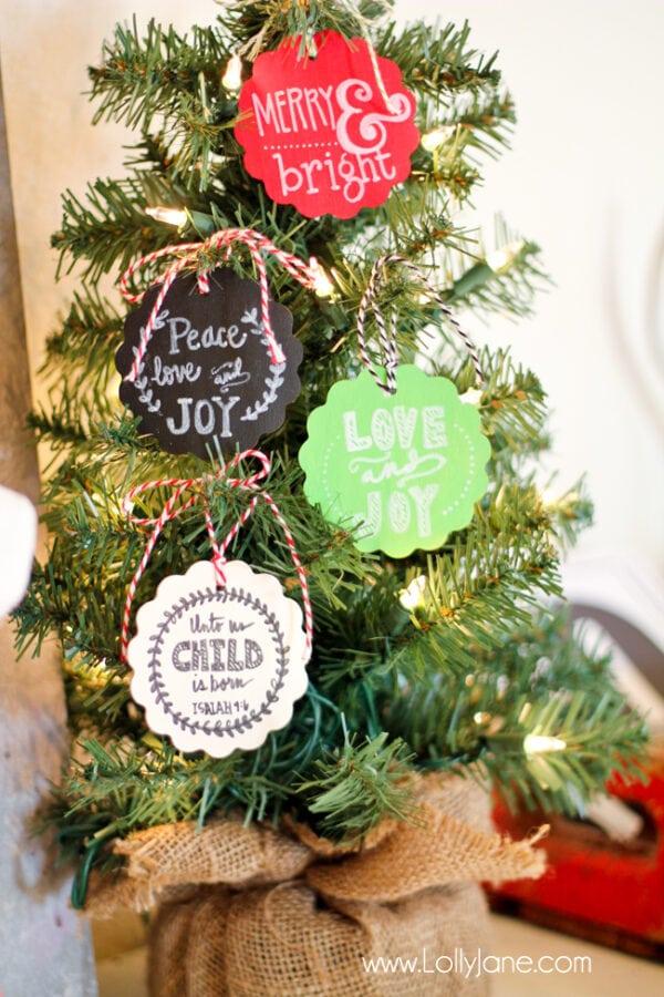 Cute ornament Christmas faux chalkboard tags